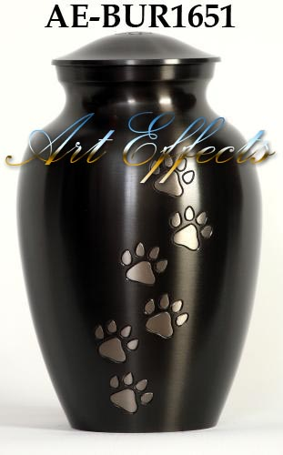 Slate Finish Paw Print Brass Pet Urn